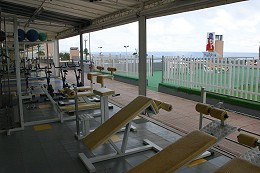 A collection of machines inside the Beach Gym, looking out over the top of a shopping centre onto the sea